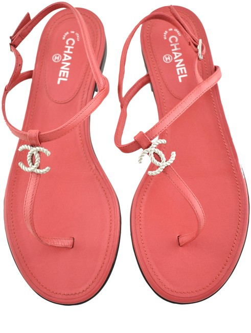 Item - Red 19c Leather Cc Silver Metal Logo Mule Strap Thong Flat 36c Sandals Size EU 36 (Approx. US 6) Wide (C, D)
