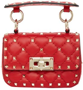 Item - Rockstud Spike Micro Red Leather Shoulder Bag