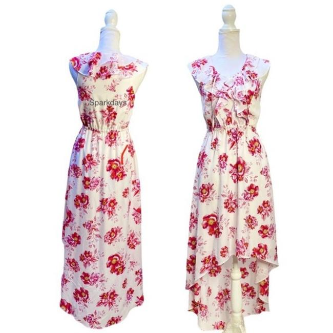 Item - White Red Floral High Low Tank Ruffle Midi Summer S Mid-length Casual Maxi Dress Size 4 (S)