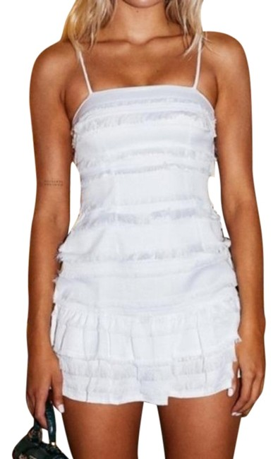 PRINCESS POLLY White Fringe Mini Strappy Short Night Out Dress Size 0 (XS) PRINCESS POLLY White Fringe Mini Strappy Short Night Out Dress Size 0 (XS) Image 1