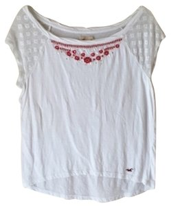 Hollister Embroidered Floral Lace T Shirt White