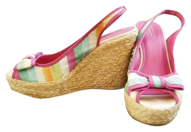 Coach Pink and Tan Grace Wedges Size US 8 Regular (M, B) Coach Pink and Tan Grace Wedges Size US 8 Regular (M, B) Image 1