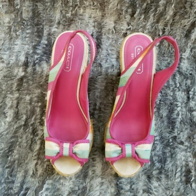 Coach Pink and Tan Grace Wedges Size US 8 Regular (M, B) Coach Pink and Tan Grace Wedges Size US 8 Regular (M, B) Image 3