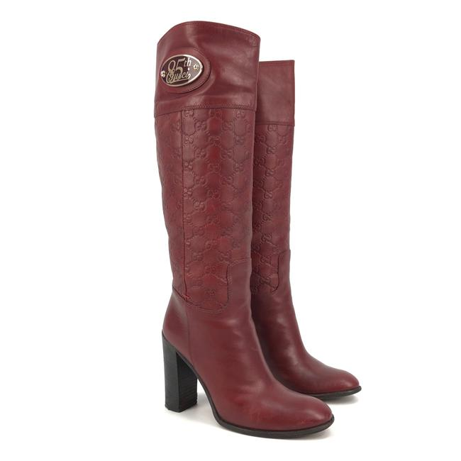 Item - Burgundy Womens Gg ssima Leather 85th Anniversary Boots/Booties Size US 8.5 Regular (M, B)
