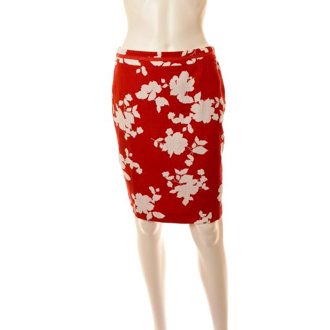 Item - Red and White Floral Jacquard Pencil Skirt Size Petite 8 (M)