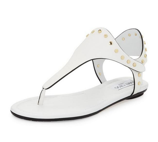 Item - White Dara Studded Leather T-strap Sandals Size EU 41 (Approx. US 11) Regular (M, B)