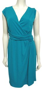 Ann Taylor short dress Teal blue New With Tag Teal Turquise Women Sleeveless Stretch Wrap Size 8 M Cap Sleeve Knee Length Blue on Tradesy