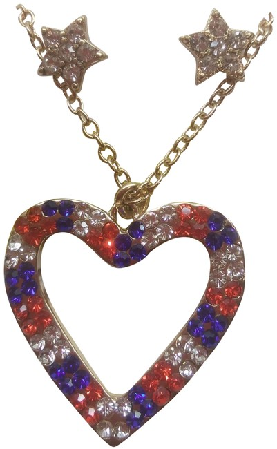 Item - Red New Patriotic Necklace & Earrings