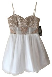 Sequin Hearts Tulle Lace Tan Gold Dress