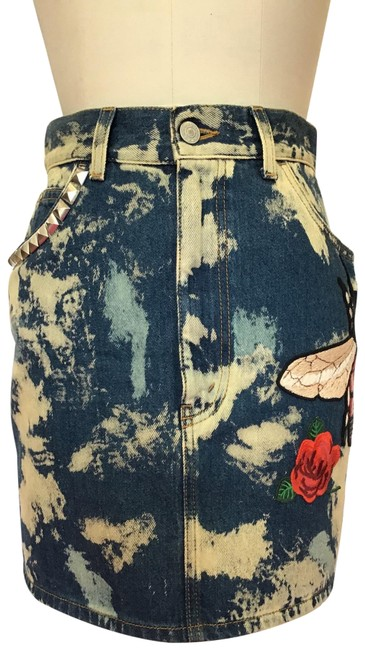 Item - Blue Multi Printed Denim Appliquéd and Studded Jean Skirt Size 2 (XS, 26)