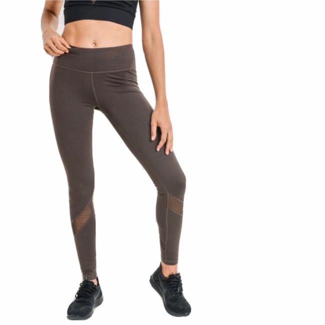 Item - Brown S Ap1324 Yoga Mesh Accents Mid Rise Activewear Bottoms Size 4 (S, 27)