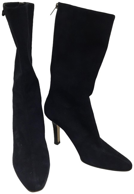 Item - Navy Suede with Back Zippers Boots/Booties Size EU 38 (Approx. US 8) Regular (M, B)