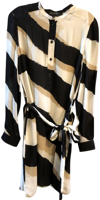 Item - Black Tan Cream Stunning Silk Matching Jacket On A Seperate Listing Mid-length Work/Office Dress Size 14 (L)