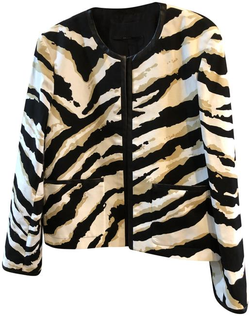 Item - Black Cream Tan Leather Trimmed Canvas Jacket with Matching Dress On Its Own Listing Blazer Size 14 (L)
