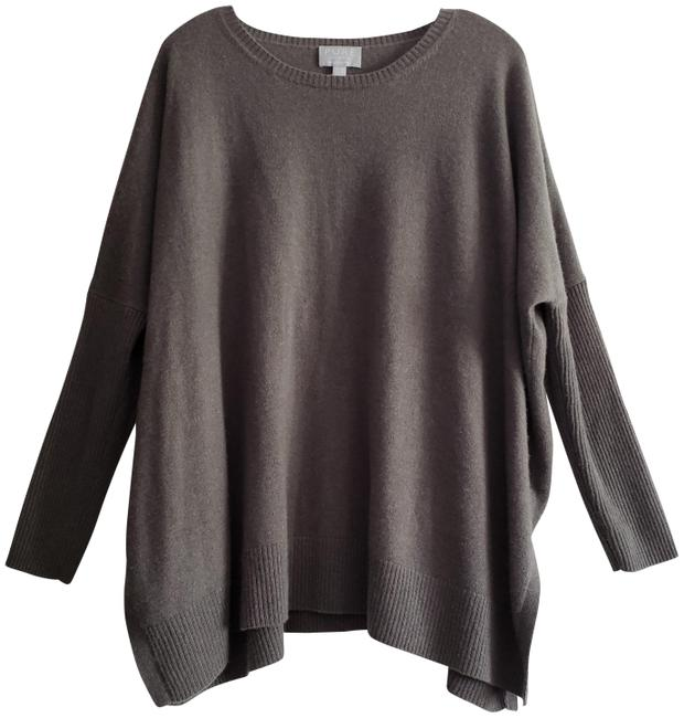 Pure Collection Cashmere Gray Green Generous Fit Long Sleeve Crew Neck Tunic Neutral Ultra Soft Sweater Pure Collection Cashmere Gray Green Generous Fit Long Sleeve Crew Neck Tunic Neutral Ultra Soft Sweater Image 1