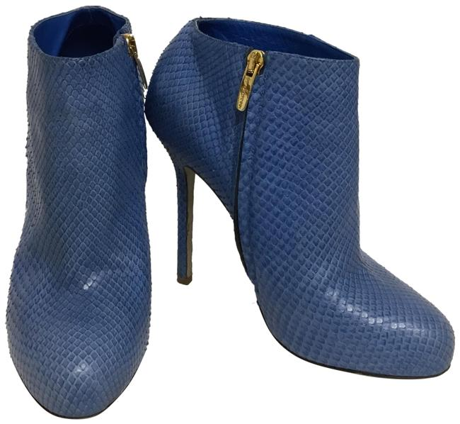 Item - Blue Snakeskin Ankle Boots/Booties Size EU 37.5 (Approx. US 7.5) Regular (M, B)