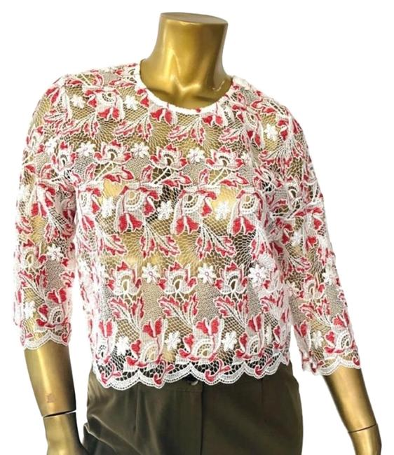 Item - Red White Sheer Floral Lace Cotton Blouse Size 0 (XS)
