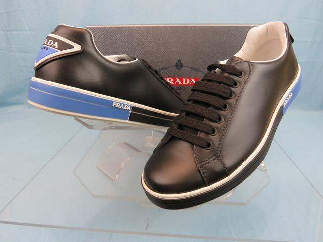 Item - Black 4e3314 Leather Lace Up Logo Low Top Sneakers 7 Us 8 Italy Shoes