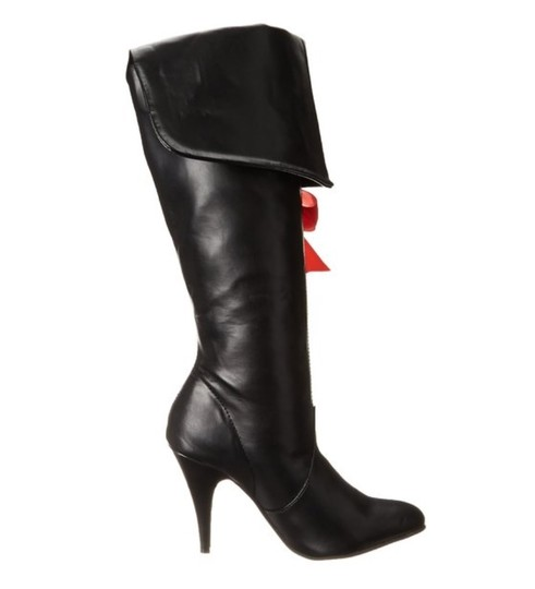 Ellie Shoes Tall Red Ribbon Size 11 Women Eille Faux Leather New Long Heel High Black Boots