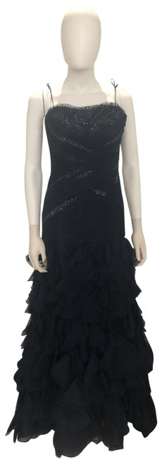 Item - Navy Strapless Ball Gown Tulle Sequins Long Formal Dress Size 10 (M)