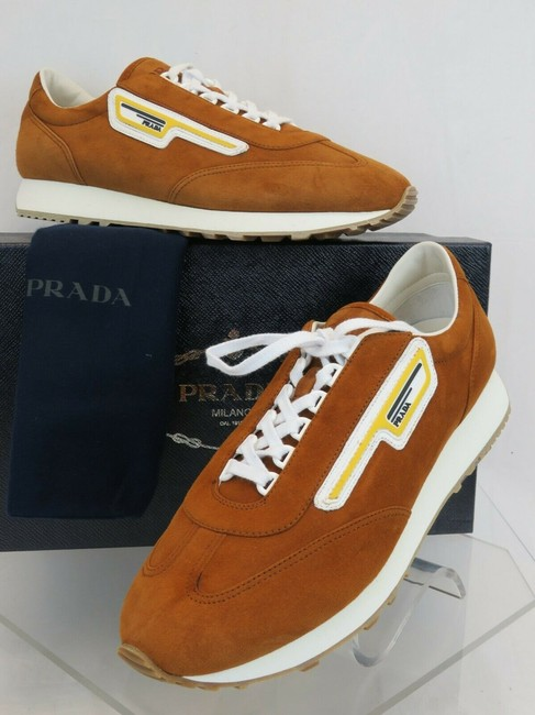 Item - Brown 2eg286 Camel Suede Stripe Logo Low Top Lace Up Sneakers 10 /Us 11 It Shoes