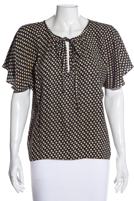 Item - Black & White Yves Floral Printed Blouse Size 4 (S)