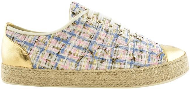 Item - Gold 19c Pink Blue Tweed Cc Logo Lace Up Tie Low Top Espadrille Sneakers Size EU 41 (Approx. US 11) Regular (M, B)