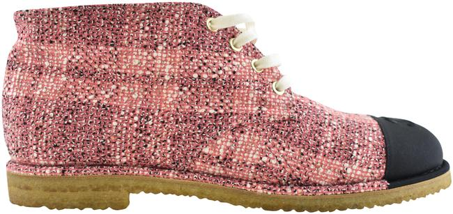 Item - Pink 19p Beige Black Tweed Cc Lace Up Tie Ankle Short Sneaker Boots/Booties Size EU 42 (Approx. US 12) Regular (M, B)