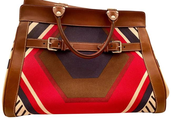 Item - Twiggy Cognac Beige Navy and Red Leather Canvas Satchel