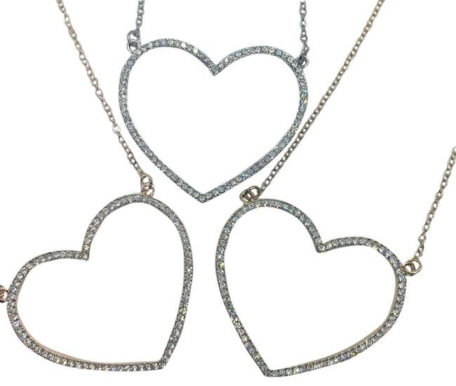 Item - Yellow Gold Rose Gold and White Gold Exquisite 18k Large Crystal Heart Necklace