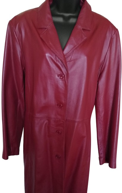 Item - Red Leather Trench Coat Size 14 (L)