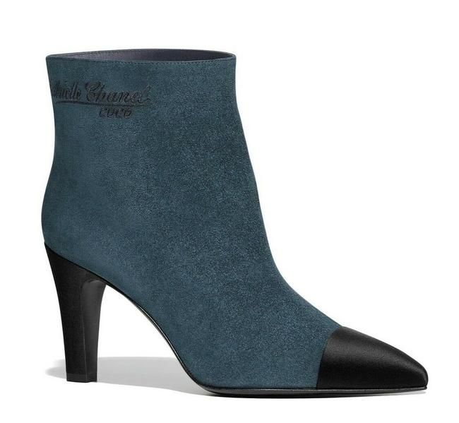 Item - Blue Gabrielle 18b Teal Suede Black Cc Logo Short Ankle Heel Boots/Booties Size EU 37.5 (Approx. US 7.5) Regular (M, B)