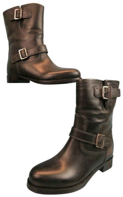 Item - Black 1u134g Distressed Leather 2x Belted Buckle Biker Italy Boots/Booties Size EU 39 (Approx. US 9) Regular (M, B)