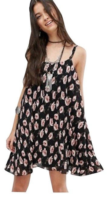 Item - Black and Pink Petite Floral Printed Plisse Cami Short Casual Dress Size 0 (XS)