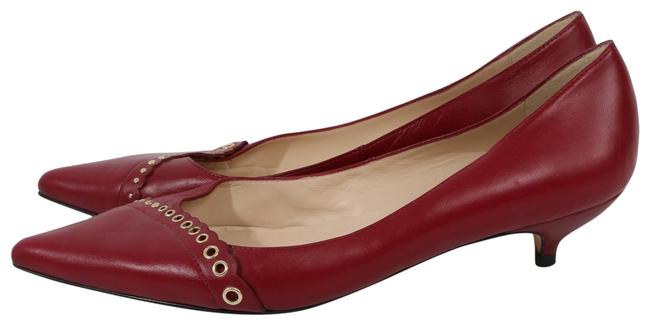 Item - Burgundy L Red Leather Pointed Toe Kitten Pumps Size US 11 Regular (M, B)
