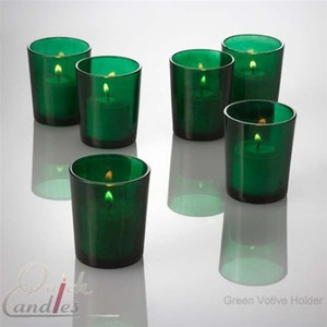 24 Green Votive Candle Holders + Candles