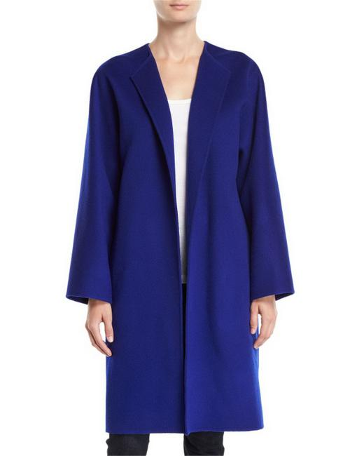 Item - Blue Rounded Double Face Wool & Cashmere Coat Size 6 (S)
