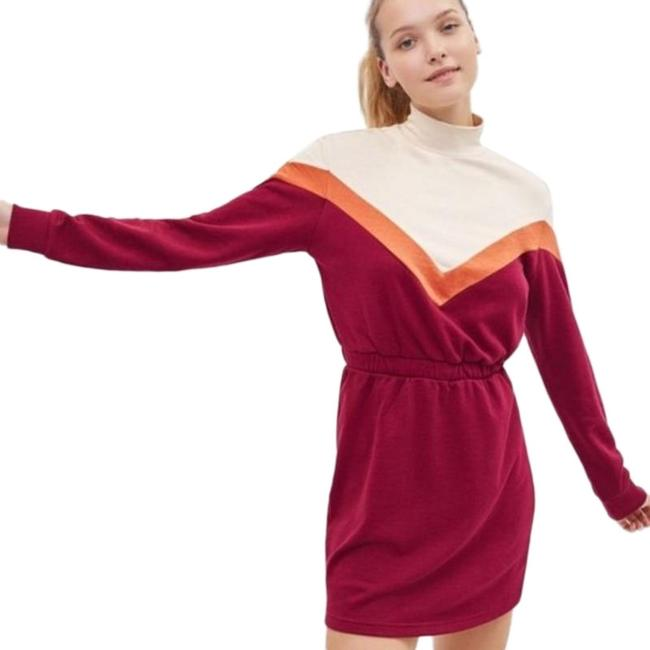 Item - Multi-color Jersey Retro Knit Long Sleeve Sweater Short Casual Dress Size 2 (XS)