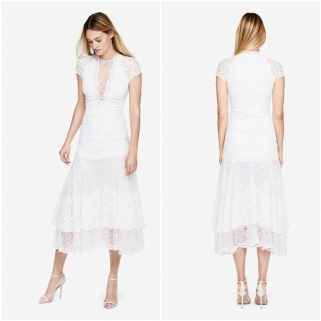 Item - White Multimedia Lace Tier Mid-length Cocktail Dress Size 6 (S)