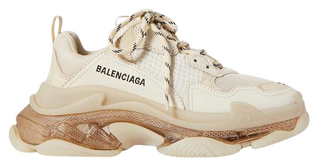 Item - Beige Triple S Clear Sole Logo-embroidered Leather Nubuck and Mesh Sneakers Size EU 36 (Approx. US 6) Regular (M, B)