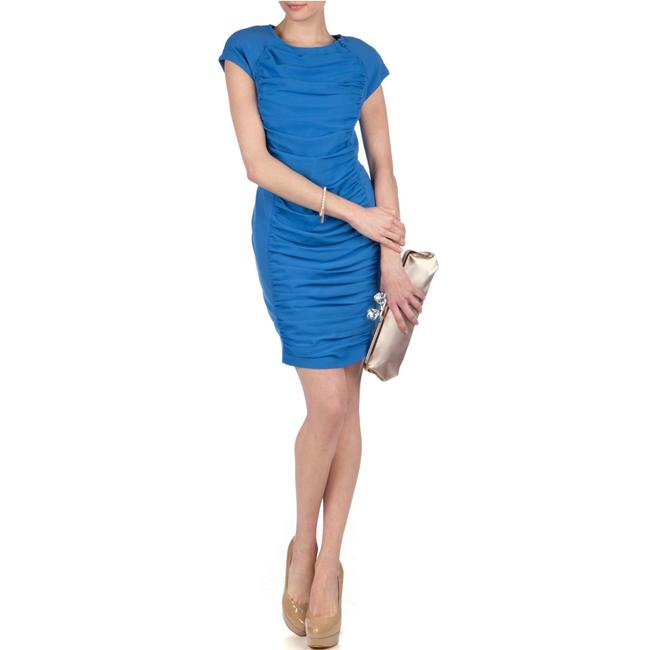 Item - Blue Foxberry Ruched Sheath Short Work/Office Dress Size 2 (XS)