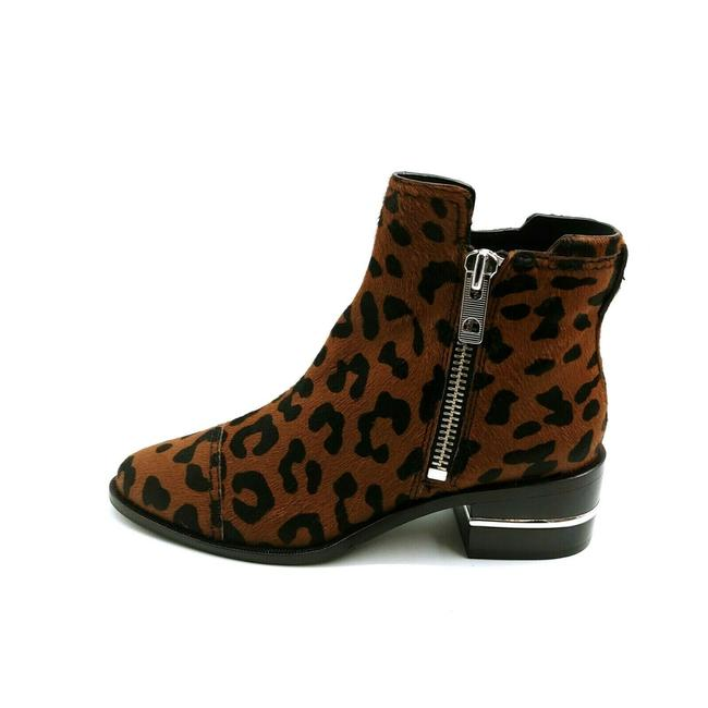 Item - Brown Womens Leather Leopard Print Ankle Boots/Booties Size US 6.5 Regular (M, B)