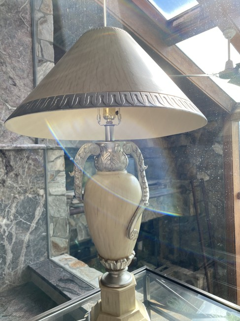 Item - Wood Silver Table Lamp Decoration