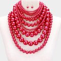 fashionista Haute Couture Multilayer Pearl Bib Choker Necklace and Earrings