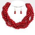 fashionista Haut Couture Twisted MultiStrand Pearl Necklace and Earrings