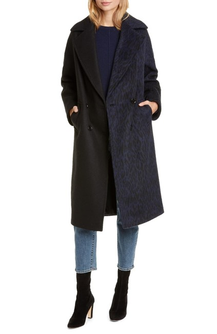 Item - Navy/Black Colorblock Double Breasted Coat Size 6 (S)