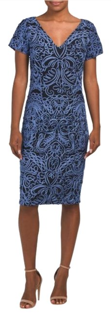Item - Blue/Black Hand Embroidered Mid-length Cocktail Dress Size Petite 8 (M)