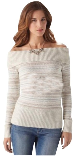 Item - Ivory Striped Metallic Off Shoulder Cream Silver Sweater