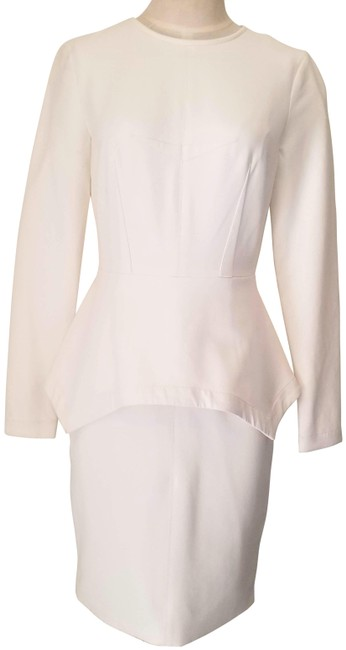 Item - Ivory Long Sleeve Wool Stretch Knit Peplum Midi Mid-length Cocktail Dress Size 4 (S)