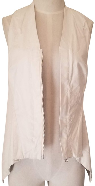 Item - White Asymmetrical Washed Leather Zip Vest Size 6 (S)